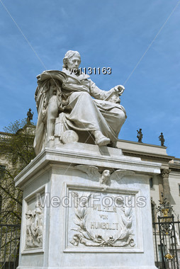 Monument To Wilhelm Von Humboldt In Front Of The Main Building Of Humboldt University In Berlin, Germany Stock Photo