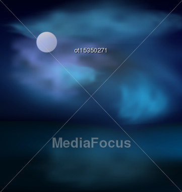 Moon And Clouds Above The Sea On The Background Of Dark Stormy Skies - Vector Stock Photo