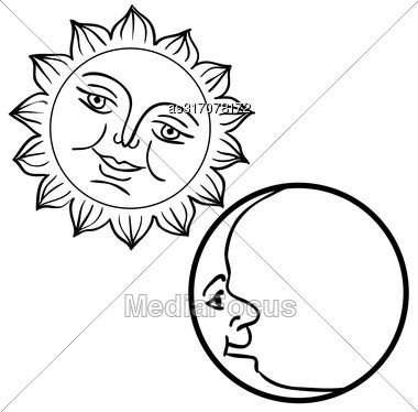Moon And Sun With Faces Day And Night Symbols Stock Photo