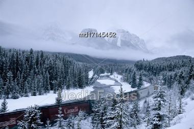 Morants Curve Alberta Lake Louise Banff Canada Stock Photo
