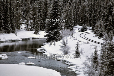 Morants Curve Alberta Lake Louise Banff Canada Stock Photo