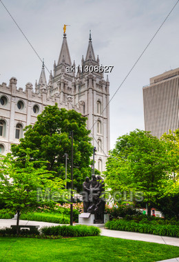 Mormons' Temple In Salt Lake City, UT In The Evening Stock Photo