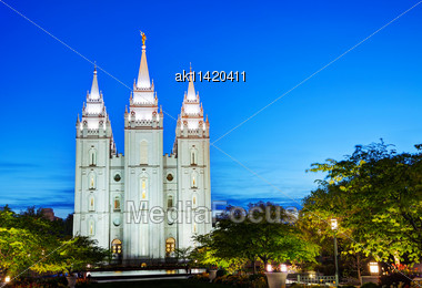 Mormons' Temple In Salt Lake City, UT In The Night Stock Photo