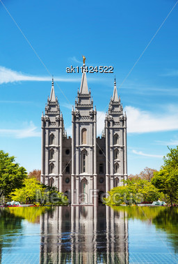 Mormons Temple In Salt Lake City, UT On A Sunny Day Stock Photo