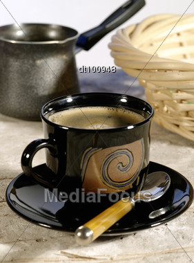 Morning Coffee. Cup Of Espresso Coffee Pot. Lite Blue Backlight Stock Photo