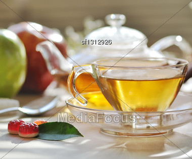 Morning Green Tea Set Stock Photo