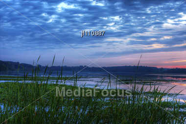 Morning Sunrise And Vivid Colors Of The Lake Stock Photo