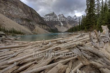 Morraine Lake Alberta Rocky Mountains Canada Emerald Color Stock Photo
