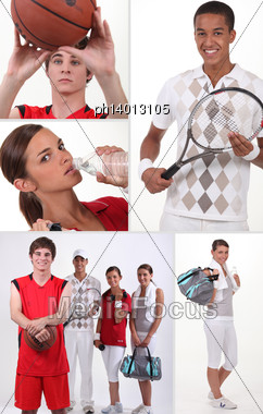Mosaic Of Four Teenager Playing Different Sports Stock Photo