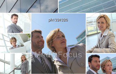 Mosaic Of Business People Stock Photo