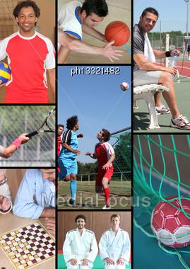 Mosaic Of Various Sports Stock Photo