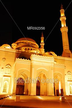 "Mosque ""Masjid"" at night Stock Photo"
