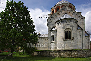 Most Famous Serbian Monastery With Beautifull Park And Flowers At Sunny Summer Day With Clear Blue Sky. Stock Photo
