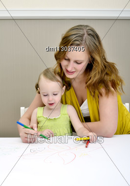 Mother And Child Painting Stock Photo