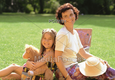 Mother and Daughter Having a Picnic Stock Photo