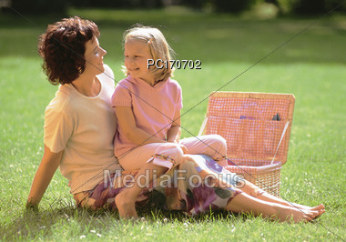 Mother and Daughter Picnic Stock Photo