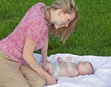 Mother and Son Talking Stock Photo