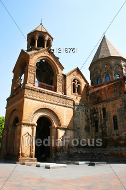 Mother Cathedral Of Holy Etchmiadzin, One Of The Oldest Churches In The World, It Was First Built By Saint Gregory The Illuminator As A Vaulted Basilica In 301-303, When Armenia Had Just Adopted Chris Stock Photo