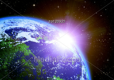 Mother Earth In Space Shined With A Sunlight Stock Photo