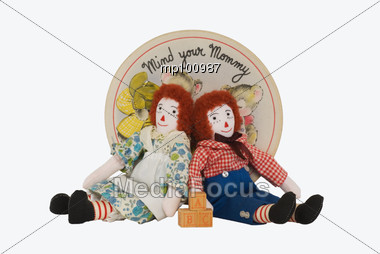 Mother song with Raggedy Ann & Andy & old record & blocks Stock Photo
