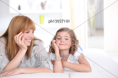 Mother Spending Time With Daughter Stock Photo