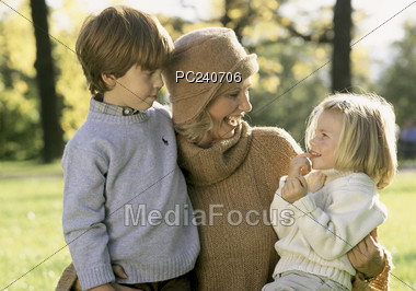 Mother with Kids Stock Photo