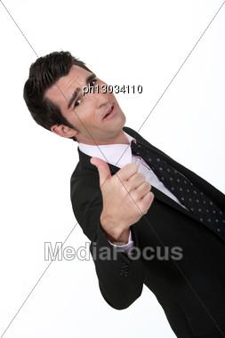 Motivated Executive Oblique Image Stock Photo