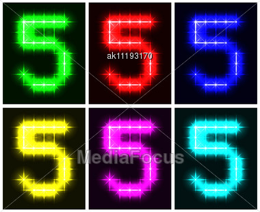 Motley Set A Glowing Symbol Of The Number 5 On Black Background For Your Design. Stock Photo