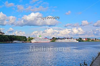 Motor Ship On Pier Stock Photo
