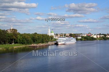 Motor Ship On Quay Stock Photo