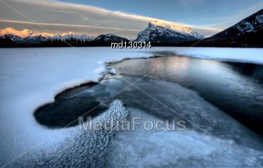 Mount Rundle And Vermillion Lake Near Banff Alberta Canada Stock Photo