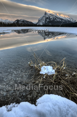 Mount Rundle And Vermillion Lake Near Banff Alberta Canada Stock Photo