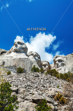 Mount Rushmore Monument In South Dakota In The Morning Stock Photo