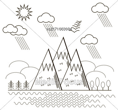 Mountain Background. Line Art Landscape. Autumn Weather Stock Photo