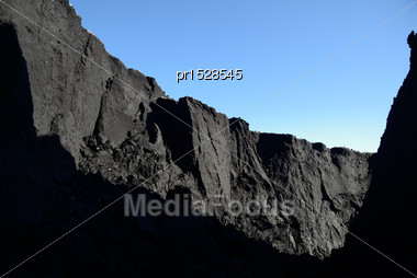 Mountain Of Coal Dust Eroded By Water At A Coal Mine Stock Photo