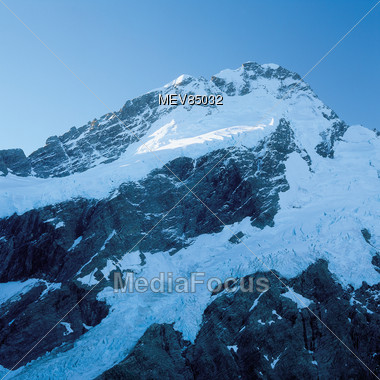 Mountain, Glacier, Mt Cook National Park, New Zealand Stock Photo