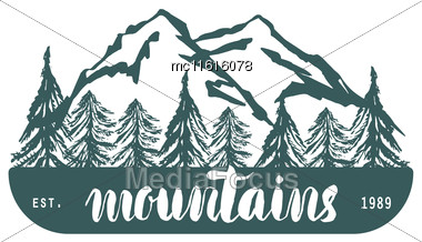 Mountain Hand Hrawn Hogo. Vector Design Element In Vintage Style For Logotype, Label,tag, Badge And Other. Mountain Logo, Symbol, Icon In Retro Style Stock Photo