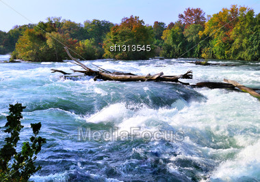 Mountain River Rapids In Autumn Stock Photo