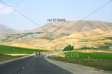 Mountain Road With Cars In Armenia. Stock Photo