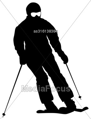 Mountain Skier Speeding Down Slope. Vector Sport Silhouette Stock Photo