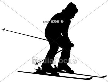 Mountain Skier Speeding Down Slope. Vector Sport Silhouette Stock Photo