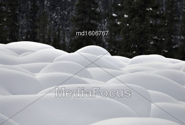 Mountain Snow Moguls Winter Alberta Canada Cold Stock Photo