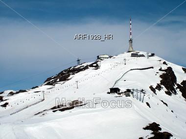 Mountain Top Ski Run Stock Photo