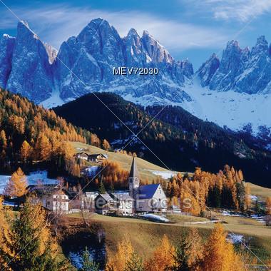 Mountain Village, Dolomites, Italy Stock Photo