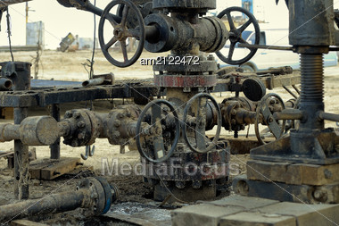 Mouth Of An Old Oil Well. Stock Photo