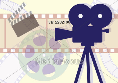 Movie Camera, Clapboard And Films Collage. Vector EPS Illustration. Stock Photo