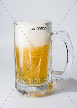 Mug, Full Of Cold Lager Beer. Isolated. Stock Photo