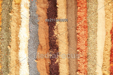 Multi Colored Background Of Different Oriental Spices Stock Photo