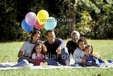 Multi-Generation African-American Family at Picnic Stock Photo