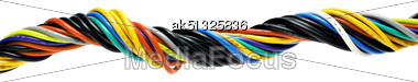 Multicolored Computer Cable Isolated On White Stock Photo